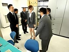 Bukkake Gangbang In The Office For a Sexy Asian Secretary