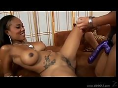 Hot Ebony Lesbian Gets Strap On Fucked By Asian Chick