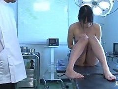 Hot Japanese babe take big dick lying on an operating table