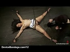 Chained to the floor babe flogged and fin ...