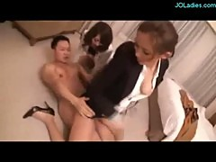 3 Office Ladies Fucking With One Guy In The Hotel Room